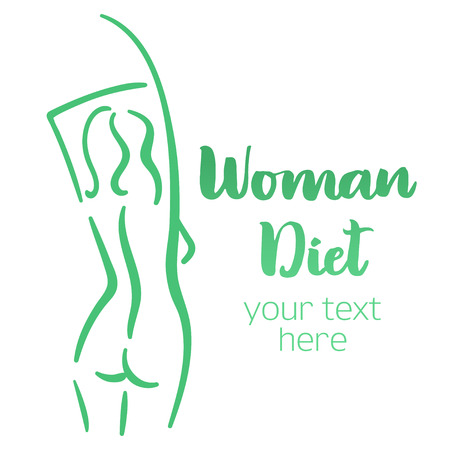 Woman body silhouette. Isolated hand-drawn illustration with brush lettering text - Woman diet. Good for web and print projects.