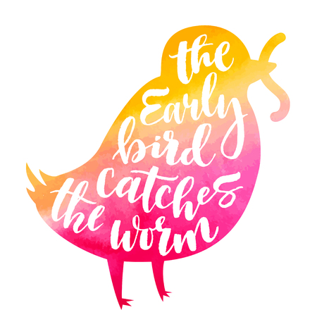 Illustration pour Lettering proverb early bird catches the worm. Watercolor background in silhouette. Modern calligraphy style in isolated illustration. - image libre de droit