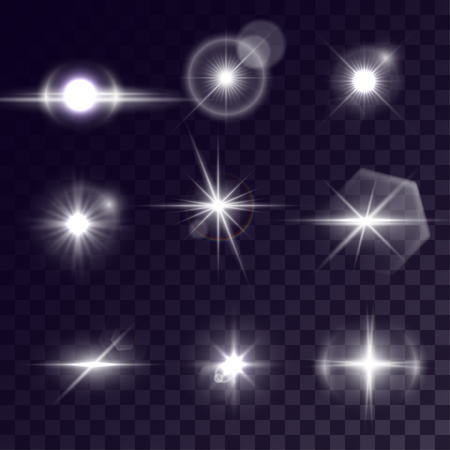Vector starlights effects. Set of white outbursts on transparent background. Release clipping mask for work.