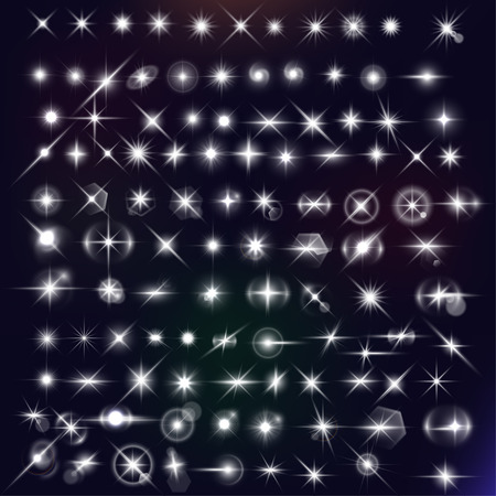 Illustration pour stars mega set. White flares effect on dark background. Release clipping mask for work. - image libre de droit
