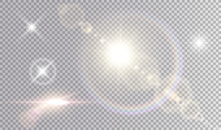 Ilustración de Set of shining light effects. Several white small stars, sun with lens flare and rainbow halo, cinematic spaceship glare. - Imagen libre de derechos