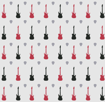 Pattern with guitars on a grey  background, vector illustration