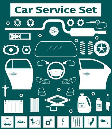 Big car service icons set, vector illustration