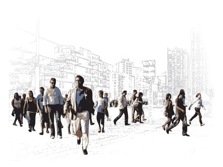 Illustration pour Illustration Of An Modern Urban Square - image libre de droit