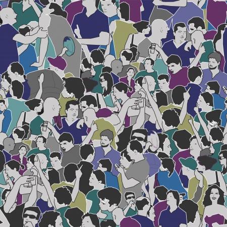 Illustration pour Crowd Seamless Pattern - image libre de droit