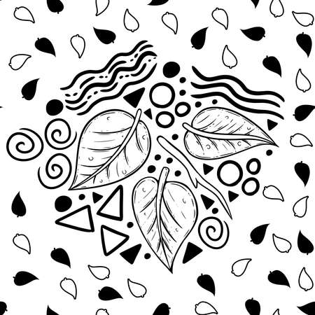 Illustration pour A fun little doodle-turned-into-pattern design, which uses line art leaf and several shapes and form typically found in doodles. A cute and whimsical surface pattern design. A simple graphic design us - image libre de droit