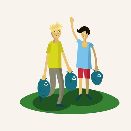 Illustration for two young guys carry out garbage bags and smile - Royalty Free Image