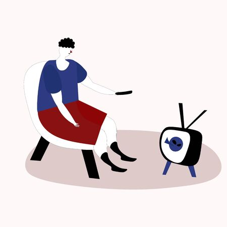 A man watching TV on an armchair .Vector illustration in doodle style hand drawn sketch.