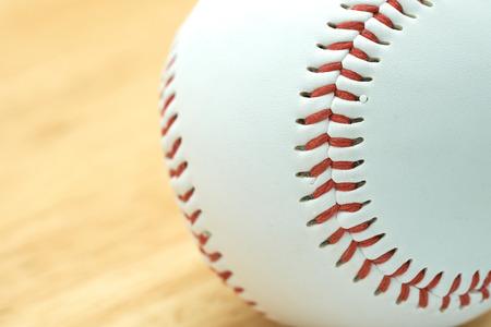 White baseball with red thread. Make baseball bindings. Baseball is a national sport of Japan. It is popular.
