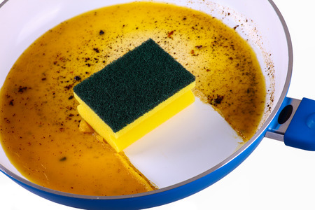 Sponge in a clean frying pan - cutout
