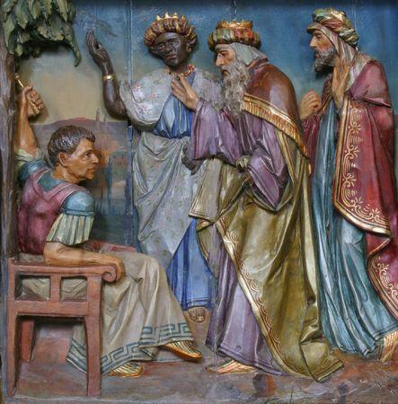 The three Magi before Herod