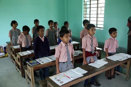 KUMROKHALI, INDIA - JANUARY 16: Kids learn at school on January 16, 2009, Kumrokhali, West Bengal, India