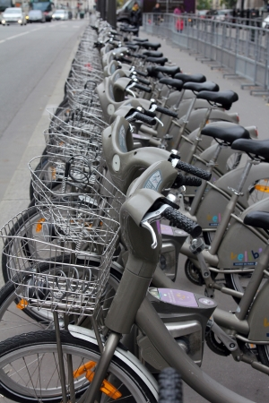 Velib bucycles in the row on January 6, 2012 in Paris, France. Velib is a large-scale public bicycle sharing system in Paris, France.