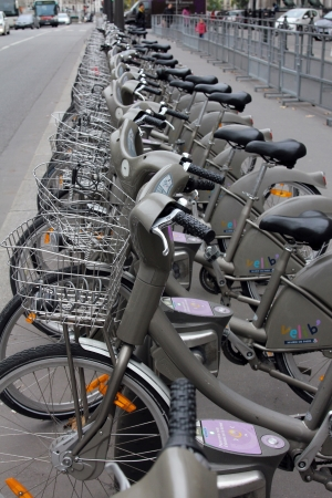 PARIS, FRANCE - NOVEMBER 07, 2012  Velib bucycles in the row on January 6, 2012 in Paris, France  Velib is a large-scale public bicycle sharing system in Paris, France