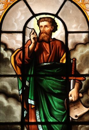 Saint Paul, stained glass, St  Elizabeth of Hungary church, Paris