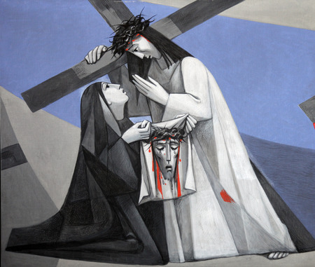 6th Stations of the Cross, Veronica wipes the face of Jesus in the Church of the Holy Trinity in the Bavarian village of Gemunden am Main