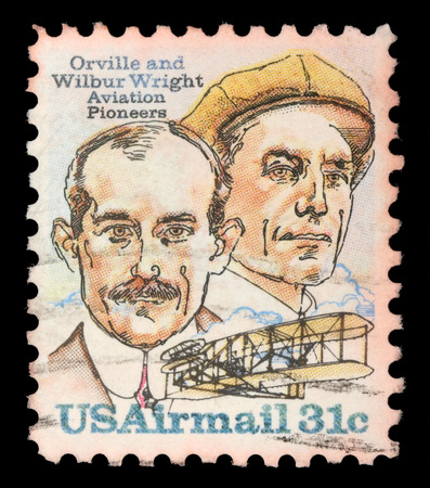 Stamp printed in USA shows image of the brothers Orville and Wilbur Wright - American aviation pioneers, circa 1995