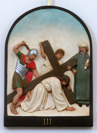 3rd Stations of the Cross, Jesus falls the first time