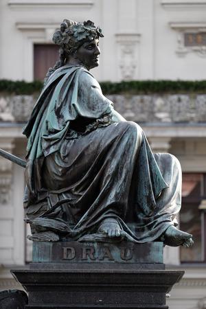 Archduke Johann Fountain, allegorical representation of the river Drau, Hauptplatz square, Graz, Styria, Austria on January 10, 2015.