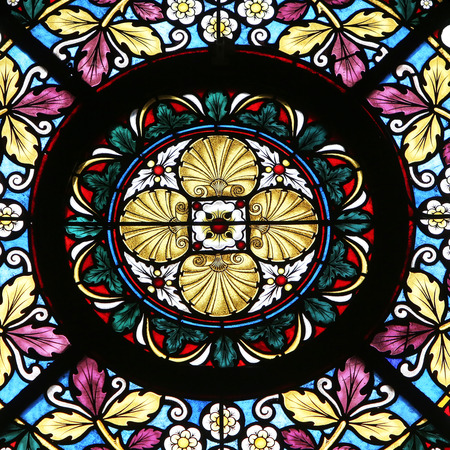 Stained glass window in Basilica Assumption of the Virgin Mary in Marija Bistrica, Croatia, on July 14, 2014