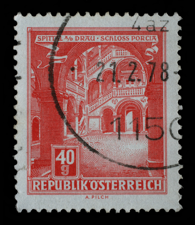 A stamp printed in Austria, shows Schloss Porcia Porcia Castle in Spittal an der Drau, circa 1962