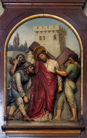 5th Stations of the Cross, Simon of Cyrene carries the cross, Basilica of the Sacred Heart of Jesus in Zagreb, Croatia