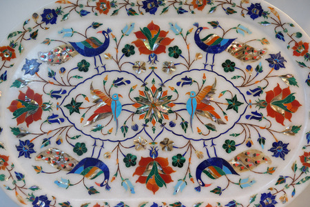 Traditional colorful floral marble tabletops for sale in Agra, Uttar Pradesh, India