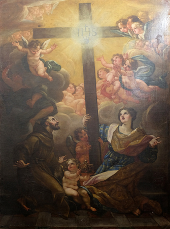 St. Francis of Assisi and St. Helen worship the True Cross by the G. B. Gaulli from 17th century in the convent of the Friars Minor in Dubrovnik