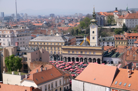 View of the Zagreb from the tower of the Zagreb cathedral dedicated to the Assumption of Mary
