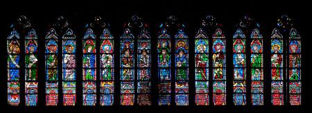 Foto de Prophets, stained glass window in the Notre Dame Cathedral, UNESCO World Heritage Site in Paris, France - Imagen libre de derechos