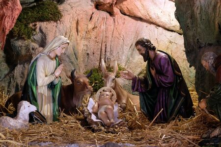 Photo pour Nativity Scene, Christmas creche in the Saint Francis of Assisi church in Zagreb - image libre de droit