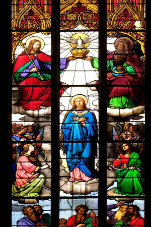 Foto de Coronation of the Blessed Virgin Mary, stained glass in Zagreb cathedral - Imagen libre de derechos