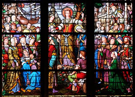 Photo pour Apostolate of St. Mary Magdalene, stained glass window in Saint Severin church in Paris, France - image libre de droit