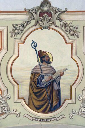 Foto de St. Augustine fresco at St. Peter's Church in Sveti Petar Orehovec, Croatia - Imagen libre de derechos