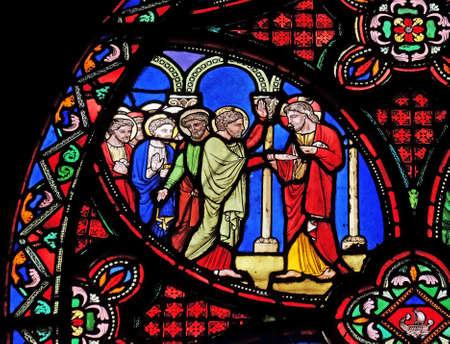 Foto de Scenes from the life of Jesus, stained glass window from Saint Germain l'Auxerrois church in Paris, France - Imagen libre de derechos