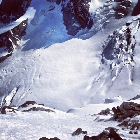 Skiing lyskamm north face