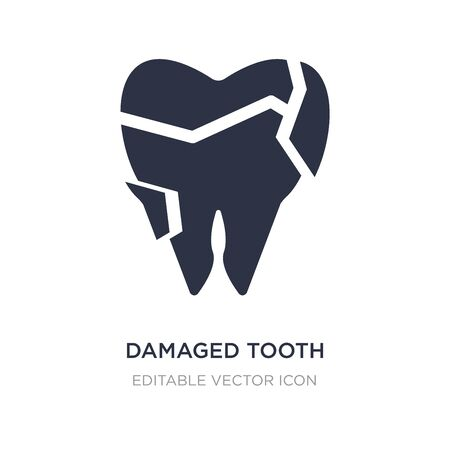 damaged tooth icon on white background. Simple element illustration from Dentist concept. damaged tooth icon symbol design.