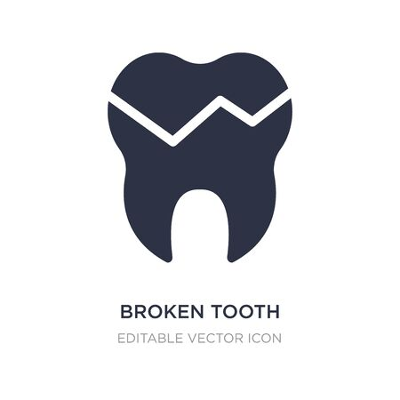 broken tooth icon on white background. Simple element illustration from Dentist concept. broken tooth icon symbol design.