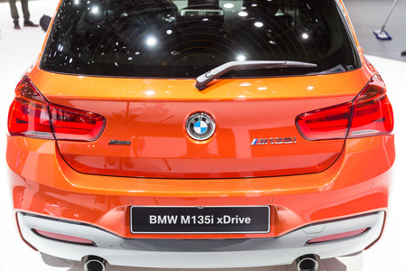 Geneva, Switzerland - March 4, 2015: 2015 BMW M135i xDrive presented on the 85th International Geneva Motor Show
