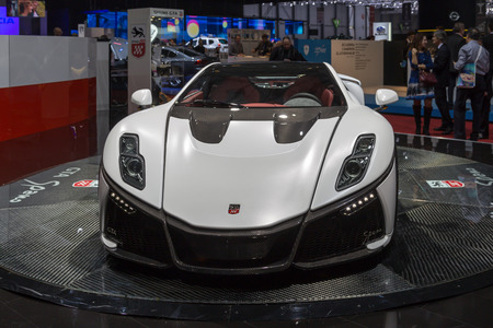Geneva, Switzerland - March 4, 2015: 2015 GTA Spano presented on the 85th International Geneva Motor Show