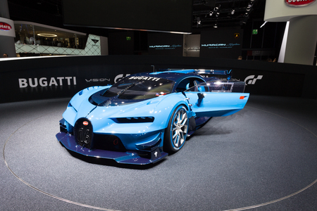 Frankfurt, Deutschland - September 15, 2015: Bugatti Vision Gran Turismo Concept presented on the 66th International Motor Show in the Messe Frankfurt