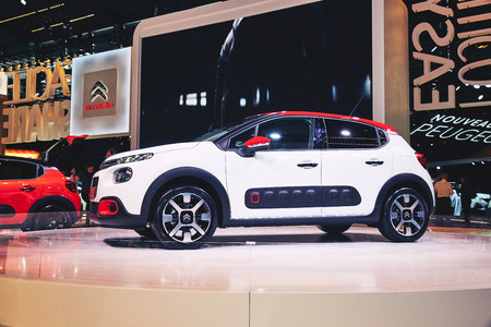 Paris, France - September 29, 2016: 2017 Citroen C3 presented on the Paris Motor Show in the Porte de Versailles