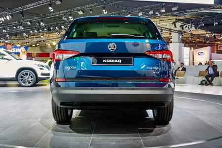 Paris, France - September 29, 2016: 2017 Skoda Kodiaq presented on the Paris Motor Show in the Porte de Versailles