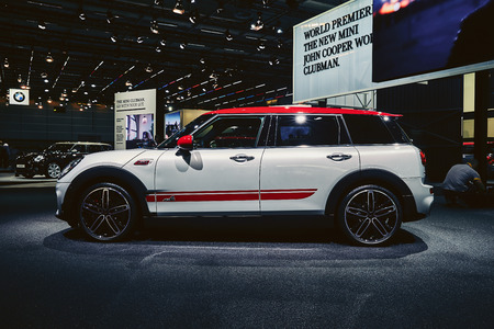 Paris, France - September 29, 2016: 2017 MINI Clubman JCW presented on the Paris Motor Show in the Porte de Versailles
