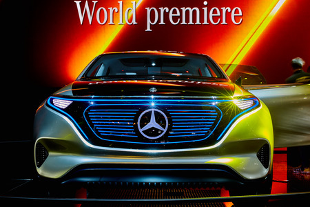 Paris, France - September 29, 2016: 2016 Mercedes-Benz EQ Concept presented on the Paris Motor Show in the Porte de Versailles