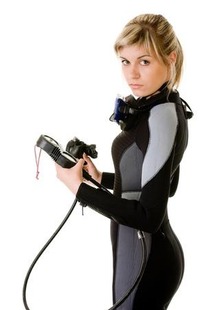 Photo pour diver cheking pressure by manometer before dive - image libre de droit