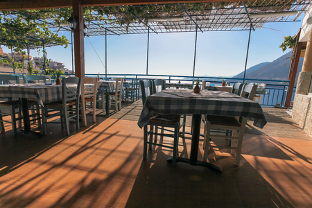 Restaurant With View On The Sea And Mountains Fish Village Bali On Crete Island In Greece Royalty Free Images Photos And Pictures