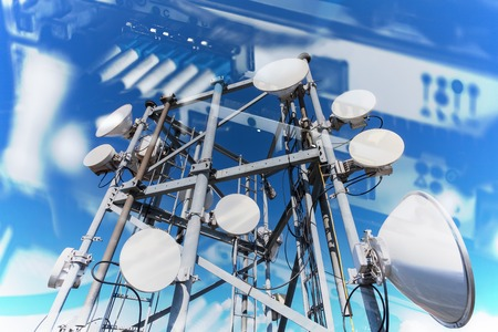 Photo pour Collage of Internet, communications and network concept with pictures of  data transfer by optical fibre information technology. on the equipment and telecommunication tower with microwave antennas and satellite dishes with cables and fiber optic. - image libre de droit