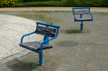 Poorly maintained urban park. South Moravia, Czech Republic.