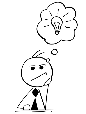 Illustration pour Cartoon illustration of stick man businessman manager or businessman or politician thinking hard with light bulb in speech bubble or balloon above his head. - image libre de droit